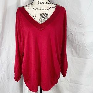 Lane Bryant plus size women's red blouse